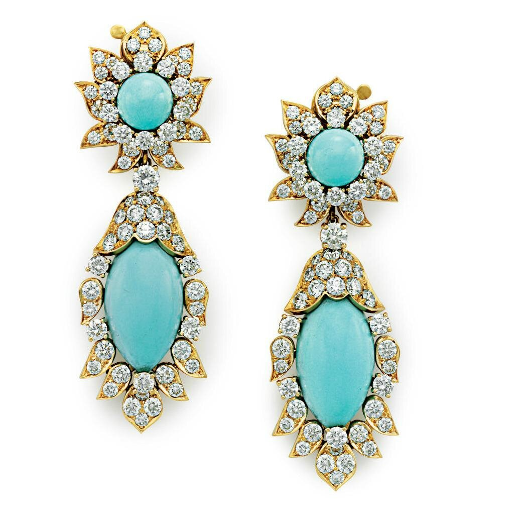 A pair of turquoise and diamond ear pendants, by Van Cleef & Arpels