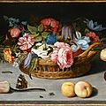 Balthasar van der ast (middelburg 1594 - delft 1657), still life with roses, tulips, irises and other flowers in a wicker basket
