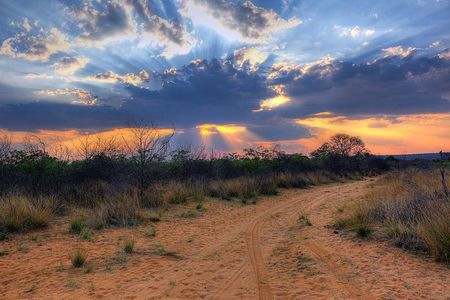 Crepuscular_rays_at_Sunset_near_Waterberg_Plateau