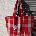 Grand cabas en lainage gris et rouge hermès - réversible toile rouge - étoile gris argent - modèle unique