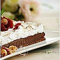Carré ganache chocolat, framboises, fond craquant au spéculoos et meringue à l'italienne...
