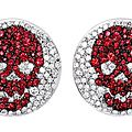 Theo fennell white gold, diamond and ruby jouster earrings