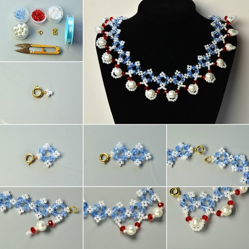 1080-Pandahall-Tutorial-on-How-to-Make-Flower-Glass-Beads-Necklace-with-Pearl-Beads