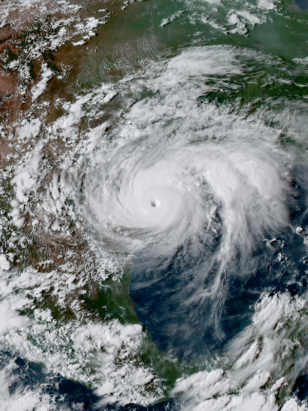 Hurricane Harvey near the coast of Texas at peak intensity late on August 25, 2017 (NOAA)