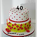 Gâteau anniversaire blanc rouge et vert anis- nîmes