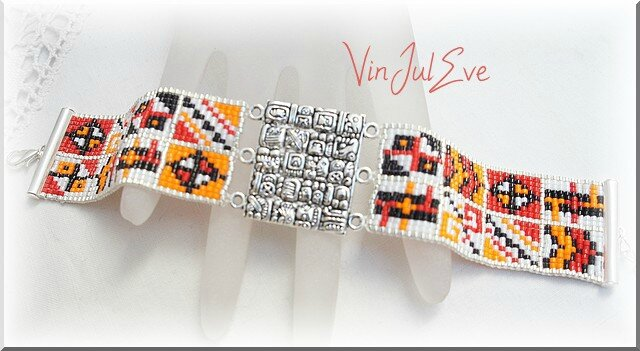 bracelet loom plaque incas rouge orange blanc noir 1