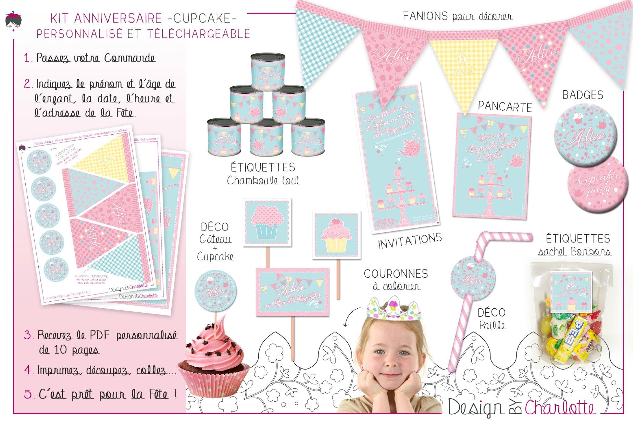 kit anniversaire fille a imprimer spaxdesign. Black Bedroom Furniture Sets. Home Design Ideas