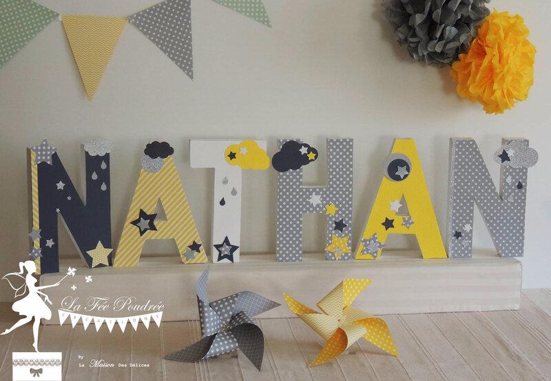 lettre prenom decorees deco chambre cadeau naissance theme bapteme etoiles jaune gris blanc
