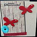 Un effet bois ... des papillons ... une fleur ... une touche de dentelle ... une carte d'anniversaire !