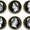 France, limoges, xviie siècle, jacques laudin i (1627-1695), huit médaillons auxprofils d'empereurs romains