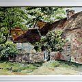 aquarelle ferme anglaise 19ème siecle