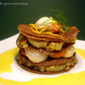 Millefeuille de galettes de bl noir aux Saint-Jacques et fenouil, sauce  l'orange