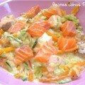 Saumon et légumes en sauce parmesane