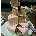 Gâteau gourmand coupé les parts
