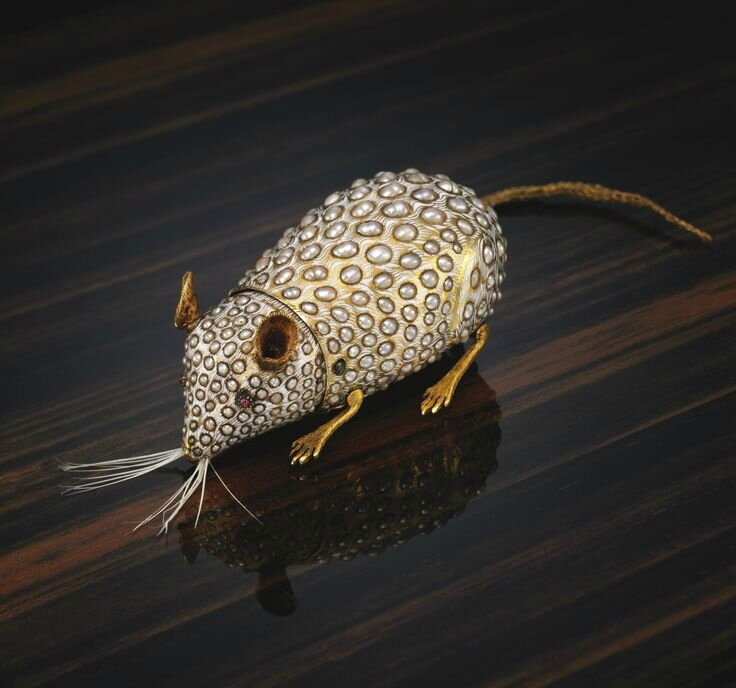The Siberian Mouse. A pearl, gold and enamel automaton mouse, attributed to Henri Maillardet, circa 1805