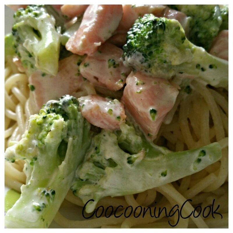 spaghettis au saumon et brocolis