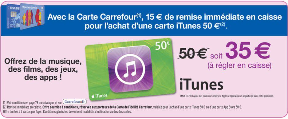 promo itunes chez carrefour du 2 au 8 octobre carte itunes 50 pour 35 le blog des cartes. Black Bedroom Furniture Sets. Home Design Ideas