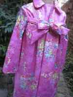 Ciré AGLAE en coton enduit Rose fushia imprimé fleuri, fermé par un noeud (1)