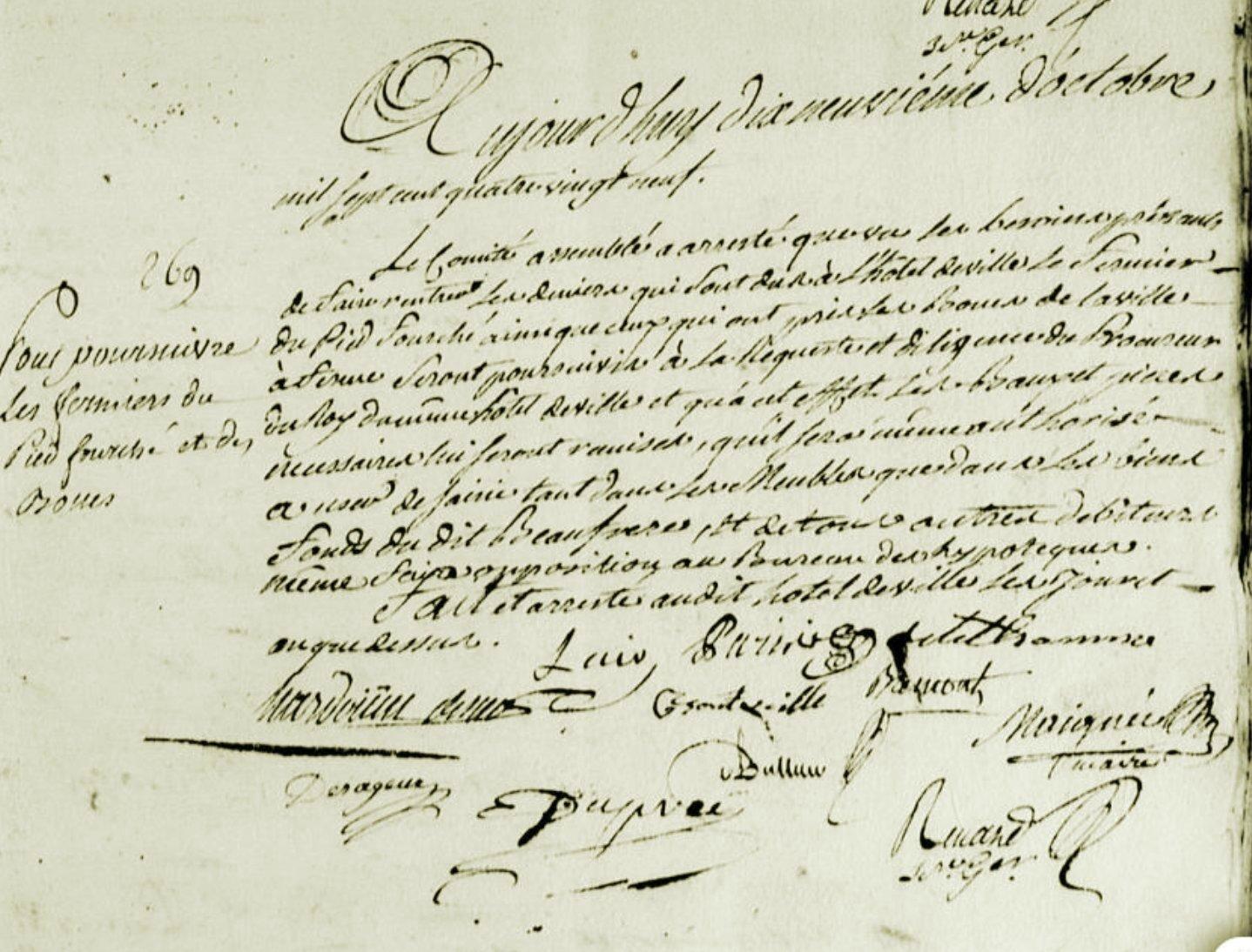 Le 19 octobre 1789 à Mamers : poursuite pour arrièrés.