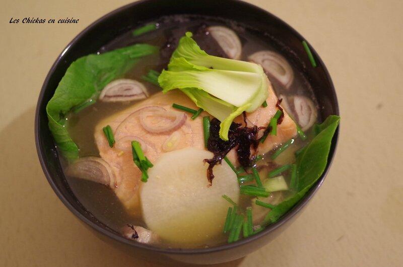 Recette asiatique soupe miso au saumon mi cuit les - Cuisson pak choi ...