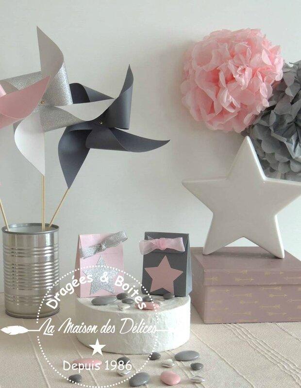 boite dragees bapteme contenant mariage rose poudre theme etoile gris argent5