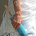 Bracelet mariage en fil argenté, bracelet ondée avec perle turquoise