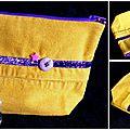 Du velours jaune ... du ruban violet pailleté ... une étoile rose et un bouton ... une trousse à maquillage !