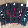 Ronds anthracite, broderie vert, rouge, fuchsia, rose, turquoise