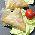 Samosas de crevettes  la mozzarella et petits lgumes!