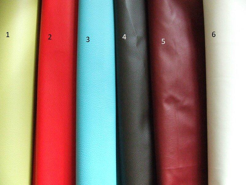 Simili-Cuirs 1 : vert // 2 : rouge // 3 : bleu // 4 : marron // 5 : bordeaux // 6 : blanc