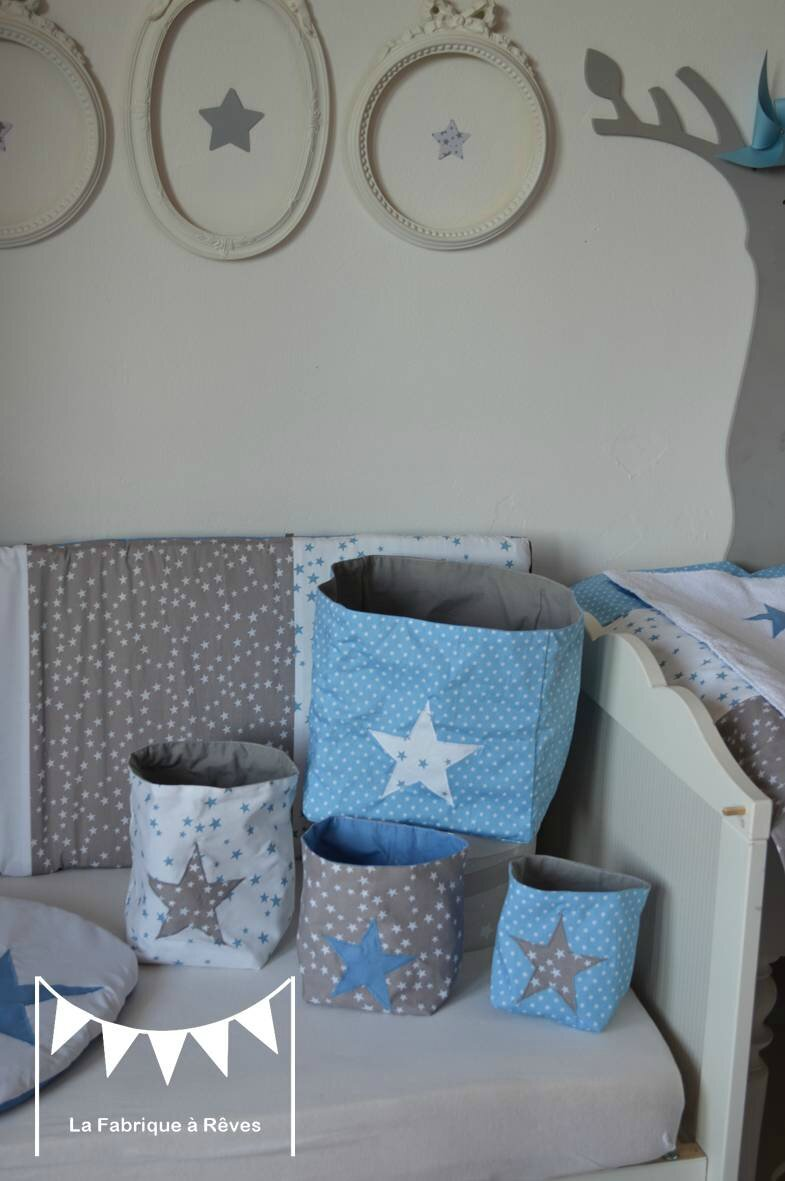 Pochons rangement r versibles chambre b b gar on bleu gris blanc toiles 2 photo de 3 for Belle chambre bebe garcon 2