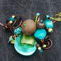 collier tour de cou bleu vert sur nacreet marron
