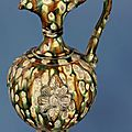 'Sancai'-glazed ewer, decorated with a flower design, Tang dynasty (618-907)