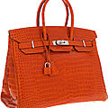 Hermes 35cm shiny orange h porosus crocodile birkin bag with palladium hardware
