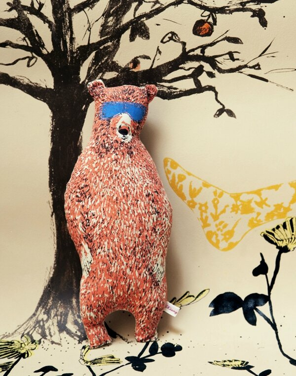 Sian-Zeng_Quirky_Illustrated_Pink-Bear_Holiday-Bear_Stuffed-Toy