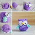 Hibou crochet feutrine ( pique epingle ecc