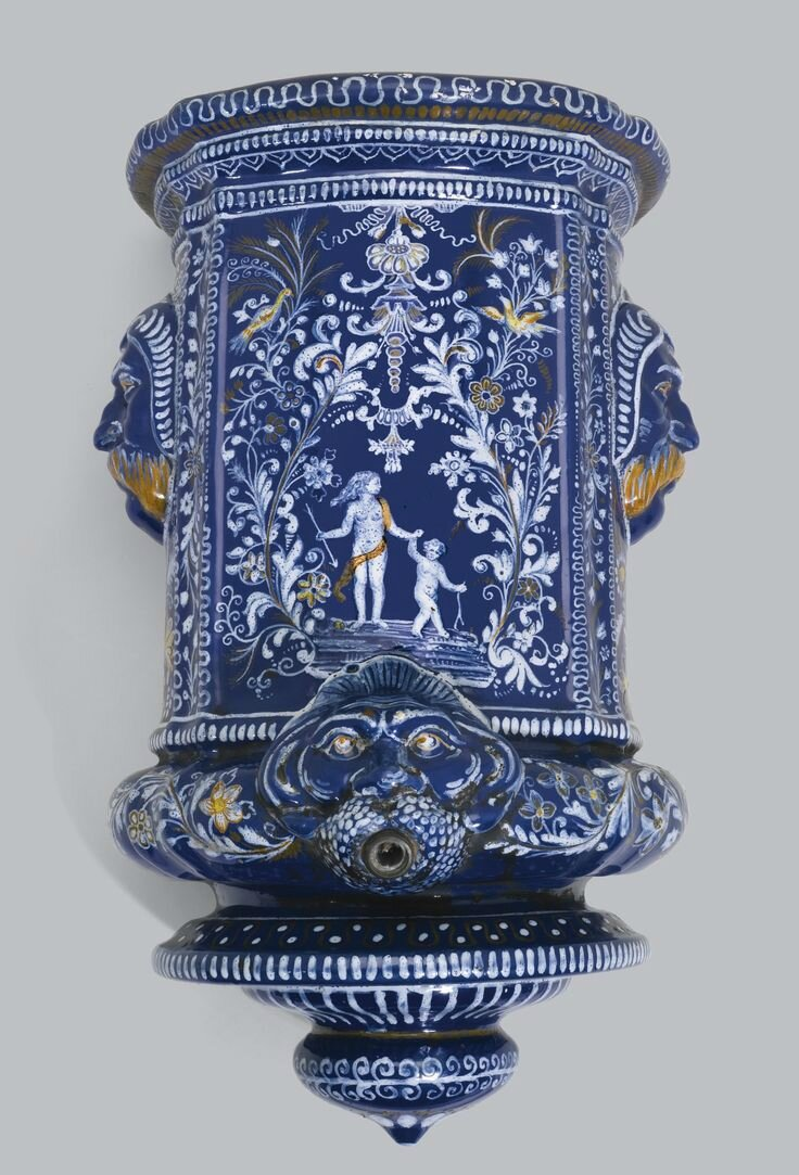 a nevers faience 39 bleu persan 39 water fountain circa 1670 1680 alain r truong. Black Bedroom Furniture Sets. Home Design Ideas