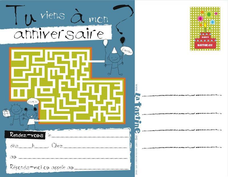 Très Cartes invitation anniversaire - La tartine SB35