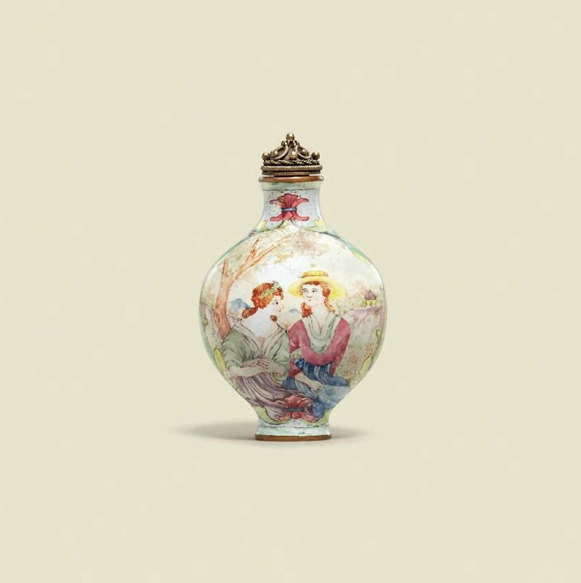 A small painted enamel 'European subject' snuff bottle, Qianlong four-character mark in blue emanel and of the period (1736-1795