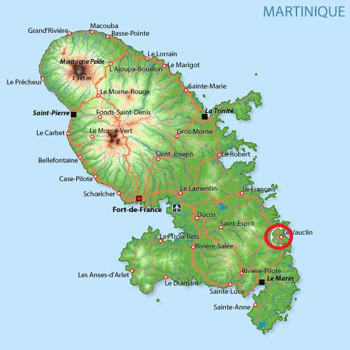Carte Martinique Vauclin