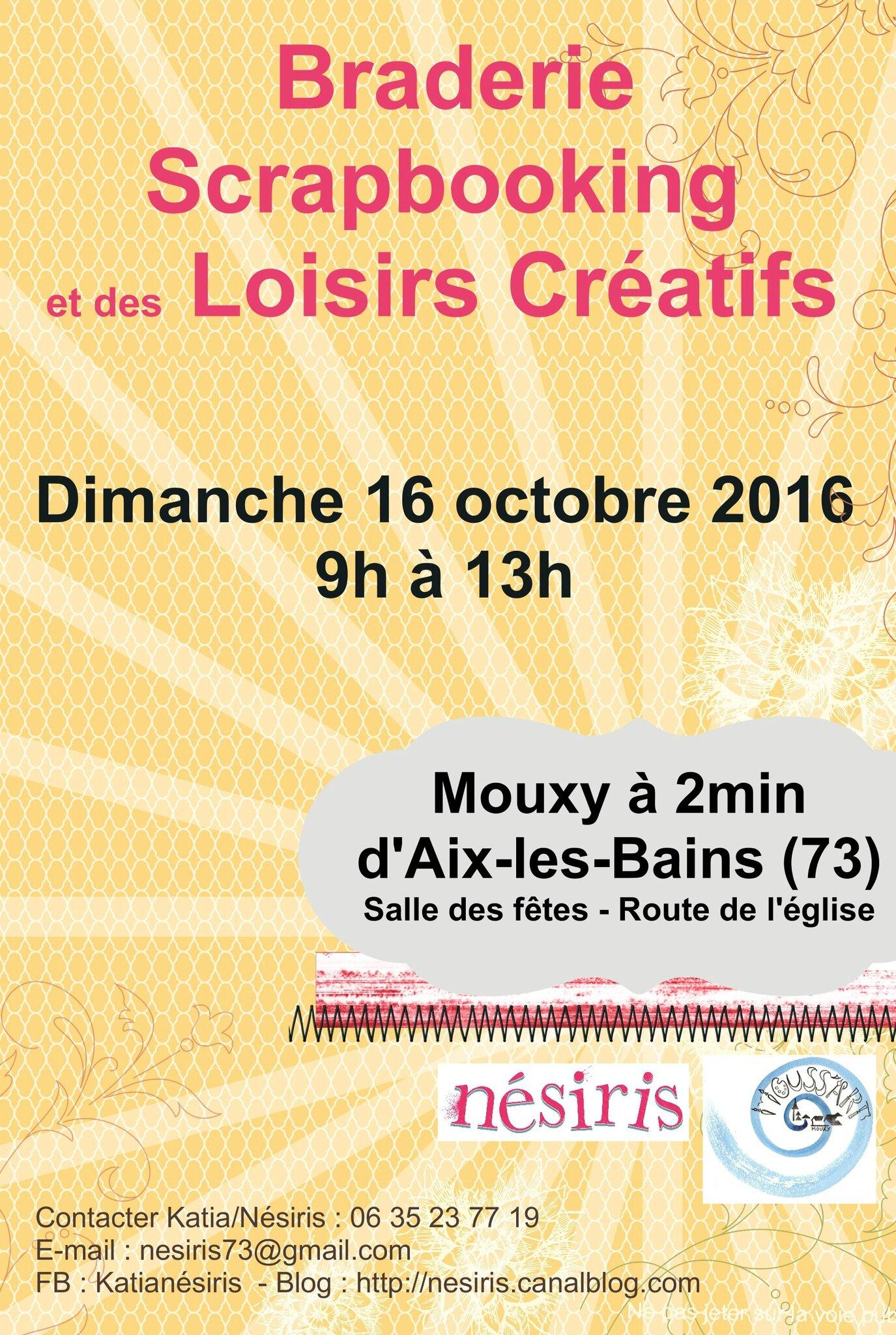 Braderie Scrapbooking et des Loisirs Créatifs - Aix-les-Bains/Mouxy Dimanche 16 octobre 2016