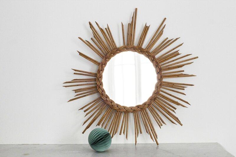 Miroir soleil vintage en rotin TRENDY LITTLE 4