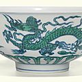 An underglaze-blue and green-enamelled 'dragon' bowl, qing dynasty, 18th century