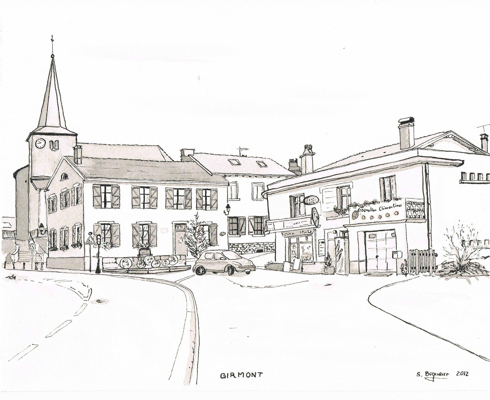 Girmont centre et son picerie photo de dessins l - Village dessin ...