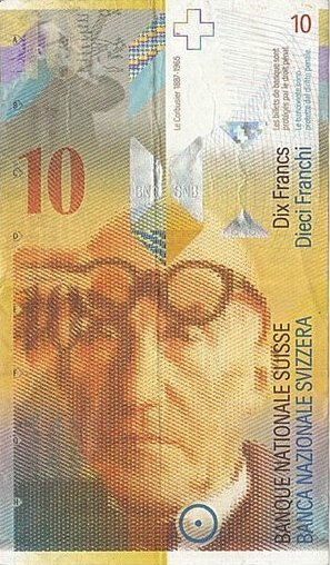 Billet Suisse 10F Le Corbusier 1965 R