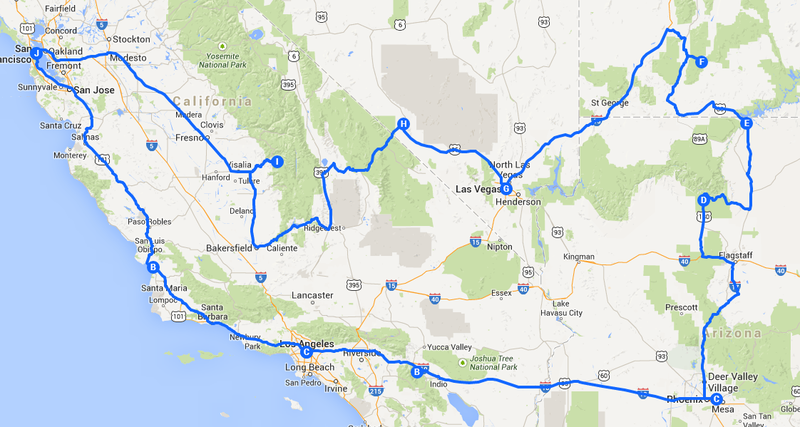 carte de notre parcours durant 15 jours road trip cote ouest usa. Black Bedroom Furniture Sets. Home Design Ideas