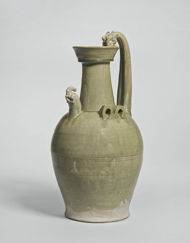 A rare and large 'Yue' chicken-head ewer, Southern Dynasties