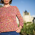 Simple Summer Tweed Top Down V neck 01_-6
