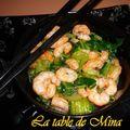 Pak choi ( chou chinois ) aux crevettes.