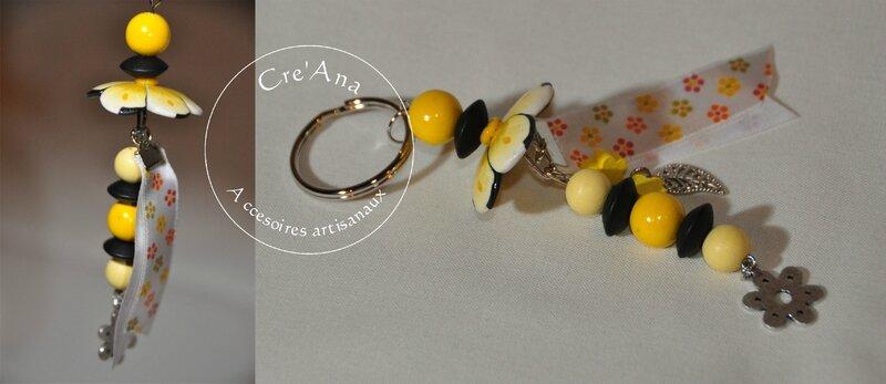 Porte-clé fleur jaune